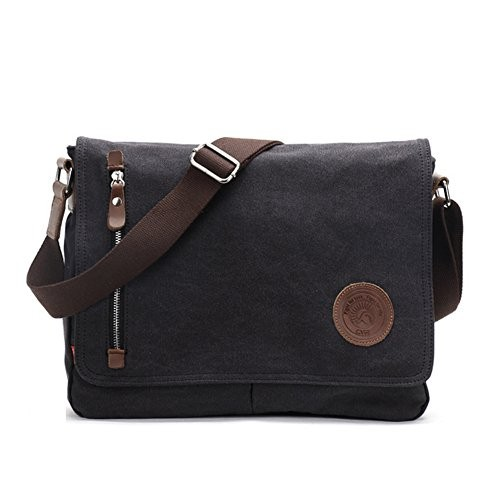 CORLISS Casual Canvas Messenger Bag College Shoulder Bag for Men   Women  ( 03 Black 62526e712fe87