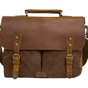 65f6252d183 Ecosusi Men Vintage Genuine Leather Messenger Bag with Canvas Strap Fits 14  Inch Laptop (Brown