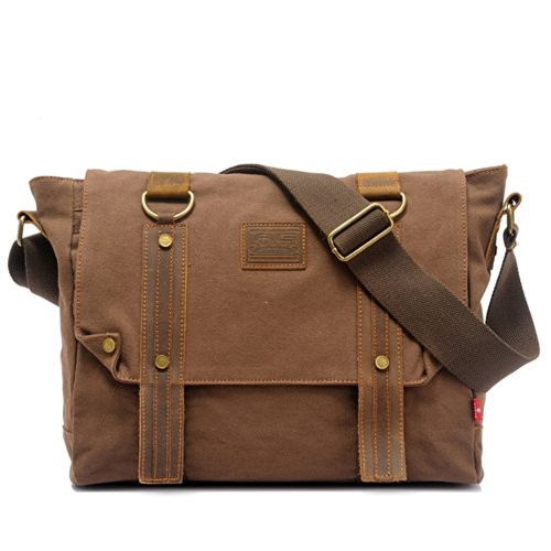 a2ccf23dc7ba EcoCity Vintage Leather Canvas Shoulder Satchels Messenger Bags ...