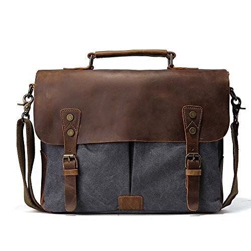 TIDING Men s Vintage Canvas Cotton Genuine Leather Casual Leisure School  Outdoor Travel Satchel Hobo Messenger Shoulder Bag Dark Grey c16e332ef4dc4