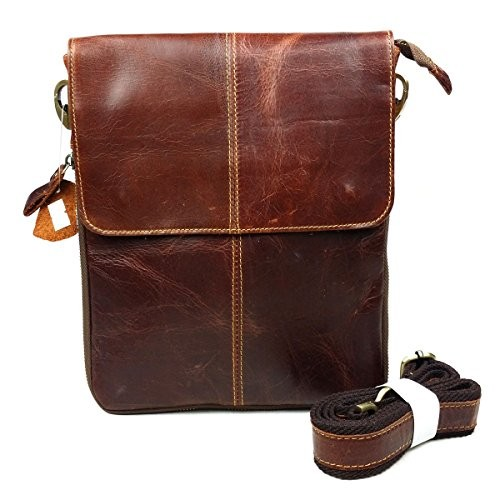 9387ef1e06d0 BAIGIO Mens Leather Shoulder Bag Casual Messenger Bag Cross-body Reddish  Brown Wax Leather