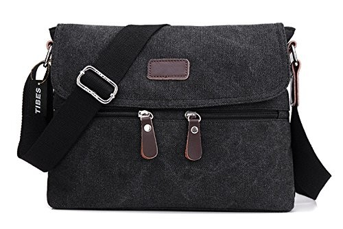 4b6178d15605 Tibes Men s Shoulder Messenger Bag Canvas Crossbody Day Bag Work Bag Black  · desc · desc ...