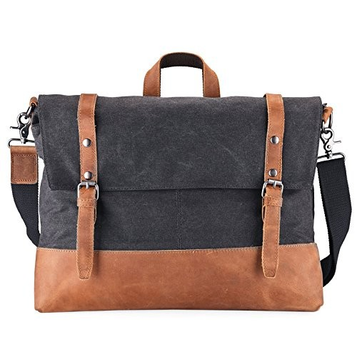 4a58c52ee4 Lecxci Men s Large Canvas Leather Messenger Shoulder Bag Crossbody Satchel  Laptop School Bag Briefcase Handbag ( · desc · desc · desc · desc · desc ...