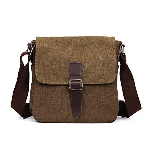 Eshow Men's Retro Canvas Cross Body Messenger Bag, Brown ...